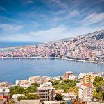 Panoramic view on Sarande city at suny day, Albania.