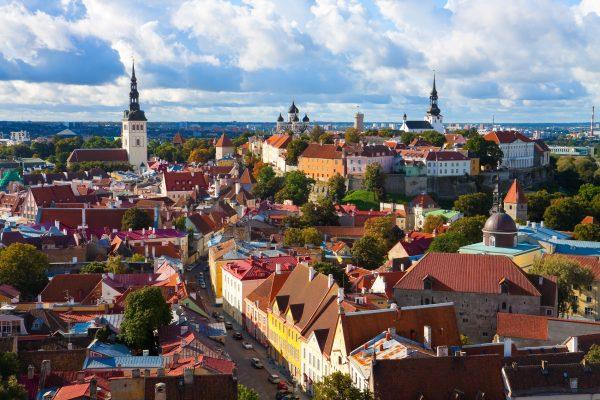 Panorama of the Old Town in Tallinn, Estonia